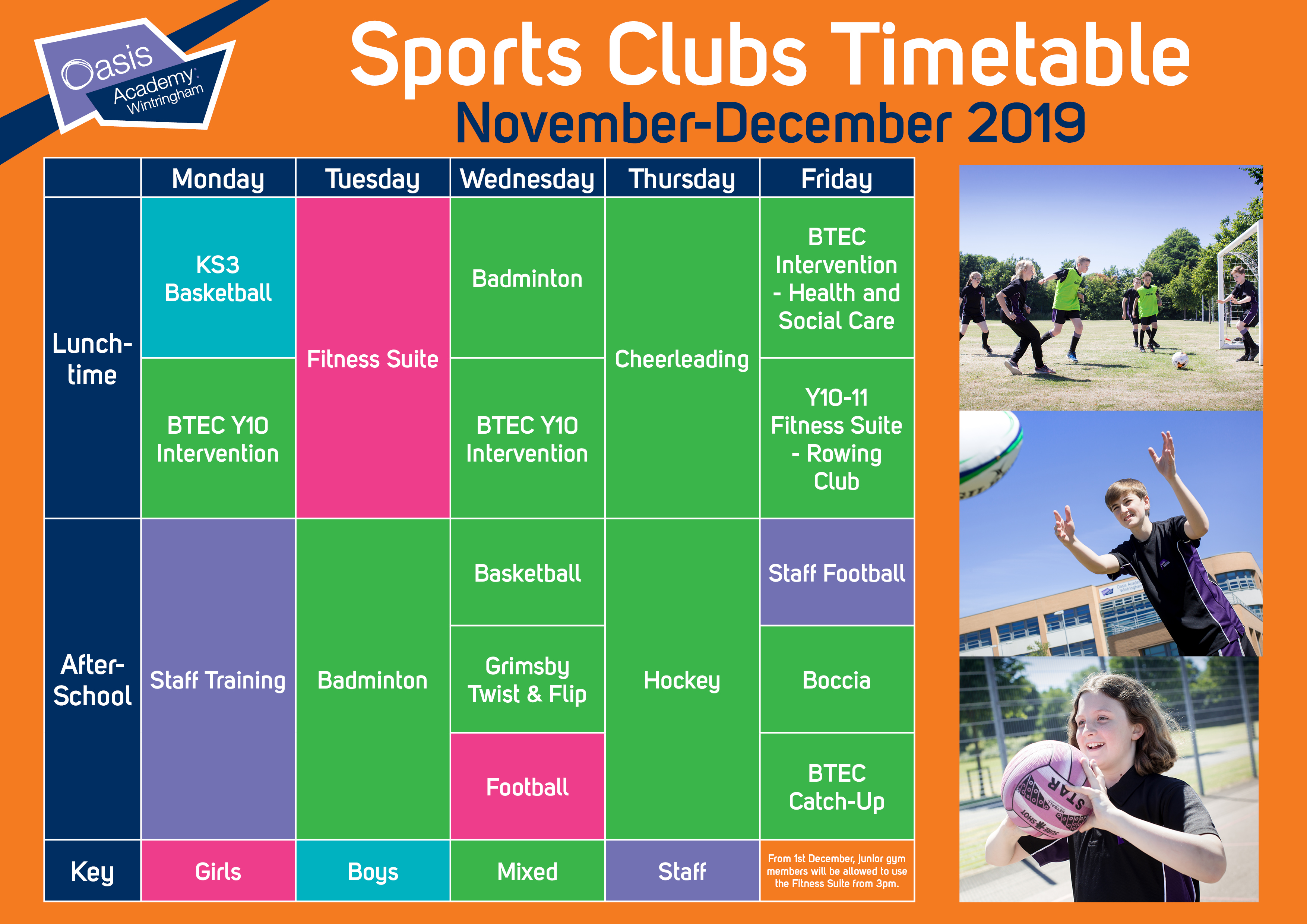 We have a new Sports Clubs Timetable starting next week!